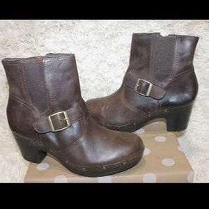 Clarks Brown Studded Leather Heel Ankle Boots